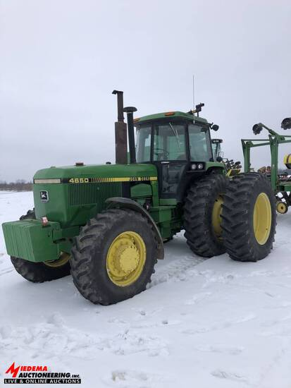 JOHN DEERE 4650 TRACTOR, MFWD, 6405 HOURS, 520/85 R38 DUALS, 3 SEV'S, QUICK HITCH, PTO, SN: RW4650P0