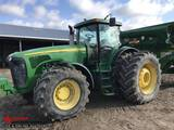 JOHN DEERE 8420 TRACTOR, 3 PT, QUICK HITCH, 3-SPEED PTO, 4 REMOTES, 620/70R-46 REAR DUALS, MFWD, OUT