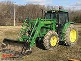 JOHN DEERE 6430 TRACTOR WITH 6370 LOADER, CAB, MFWD, 3-POINT, PTO, 4-REMOTES, FRONT AUX. HYDRAULICS,