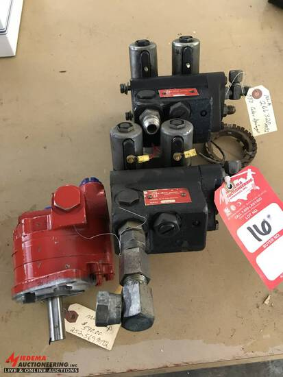 HYDRAULIC PUMPS: [2] USED CONTROL VALVES FROM MASSEY FERGUSON 540 & 550 COMBINE, 266320M92NLA, [1] N