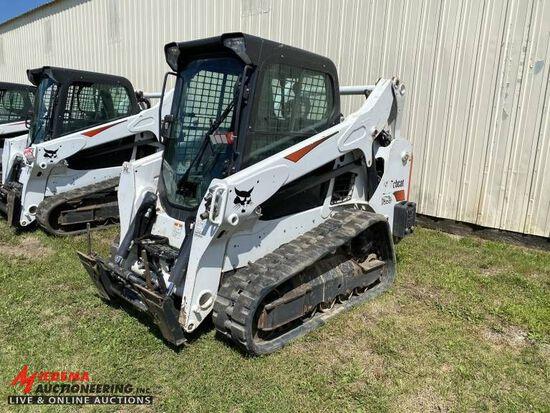 2018 BOBCAT T595 RUBBER TRACK SKID STEER, POWER BOB TACH, HI FLOW, CAB, HEA