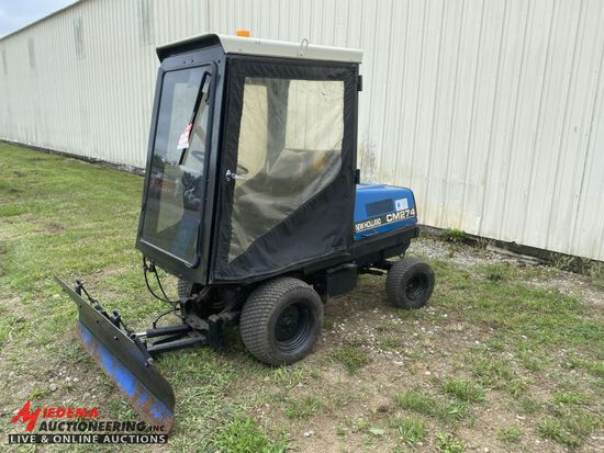 NEW HOLLAND CM274 YARD TRACTOR WITH PLOW BLADE, REAR STEER, SOFT CAB, DIESE