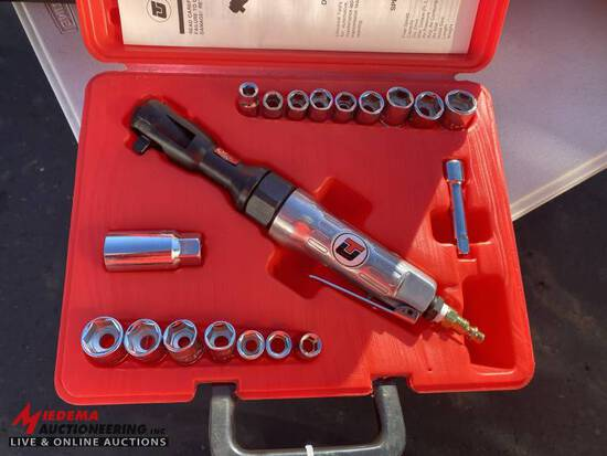 UNIVERSAL 3/8'' AIR RATCHET WITH ASSORTED SOCKETS & CASE