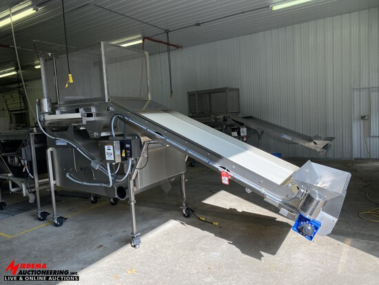 2014 LAKEWOOD 14133-01 LEAF/STICK SEPARATOR, 32'' X 9' ELEVATING BELT INFEED CONVEYOR, UPDRAFT BLOWE