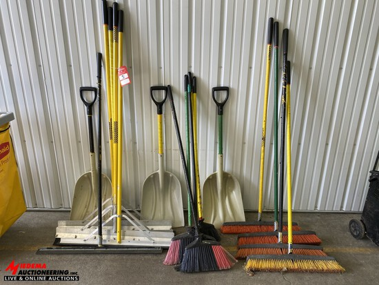 ASSORTED BROOMS, SHOVELS, SQUEEGEES