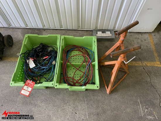 ASSORTED TRICKLE CHARGERS, EXTENSION CORDS, METAL STANDS