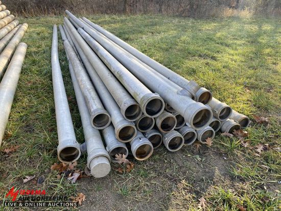 ALUMINUM IRRIGATION, 6'' WITH HOOK AND LATCH ENDS, APPROX 756', (23) 30', (1) 38', (1) 15' (1) 13' S
