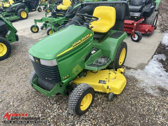 1995 JOHN DEERE 345 RIDING LAWN MOWER, WITH LEAF VAC SYSTEM, 18-HP ENGINE, 54'' DECK, 2015 HOURS SHO