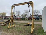 ASSEMBLED ROLLING GANTRY, 11'10'' HEIGHT, 2-TON AND 1-TON, MANUAL HOIST