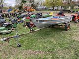 SMOKER CRAFT 12' ALUMINUM FISHING BOAT, 4-HP OUTBOARD JOHNSON MOTOR, WITH SINGLE AXLE BALKO TRAILER,