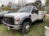 2008 FORD F550 REGULAR CAB SERVICE TRUCK, 6.4L DIESEL POWERSTROKE, AUTO TRANS, 4WD, AUX. FUEL TANK,