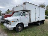 1993 CHEVY B30 CUTAWAY VAN, 15' BOX, 350 GAS ENGINE, AUTO TRANS, AM/FM-CASS, NEW SHOCKS, NEW MUFFLER