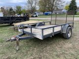 ASSEMBLED SINGLE AXLE TRAILER, 80'' X 10', REAR GATE, 2'' BALL, SELLS WITH WEIGHT SLIP 900 LB