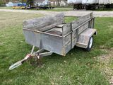 ASSEMBLED SINGLE AXLE TRAILER, 5' X 8', WIID DECK, 2'' BALL, SELLS WITH WEIGHT SLIP 900LBS