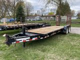 2014 TOWMASTER EQUIPMENT TRAILER T/A, 80'' X 18' WITH 3' BEAVERTAIL, STAND UP RAMPS, PINTLE HITCH, F