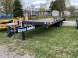 2010 CRONKHITE TANDEM AXLE EQUIPMENT TRAILER, 8' X 20' WITH 5' BEAVERTAIL, FOLD DOWN RAMPS, PINTLE H