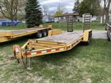 2002 CONTRAIL TANDEM AXLE EQUIPMENT TRAILER, 16' X 77'', FENDERS, ELECTRIC BRAKES, STAND UP RAMPS, V