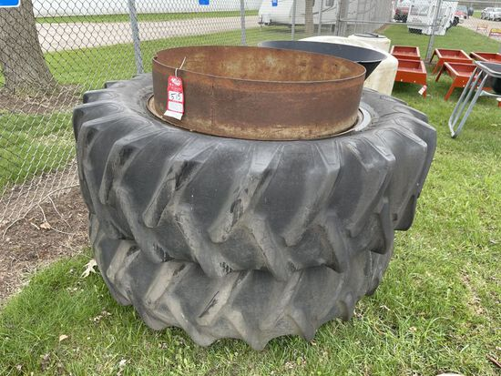 18.4-38 FIRESTONE DUALS ON T-RAIL RIMS WITH HARDWARE [2]