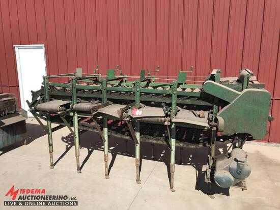 SORTER/SIZER CONVEYOR WITH 5-CONVEYORS UNDERNEATH, APPROX. 11' LONG, 24'' WIDE MAIN BELT