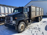 1985 INTERNATIONAL F2375 TANDEM AXLE GRAIN TRUCK WITH DUMP BED, MANUAL TRANS, 61023 MILES SHOWING, V