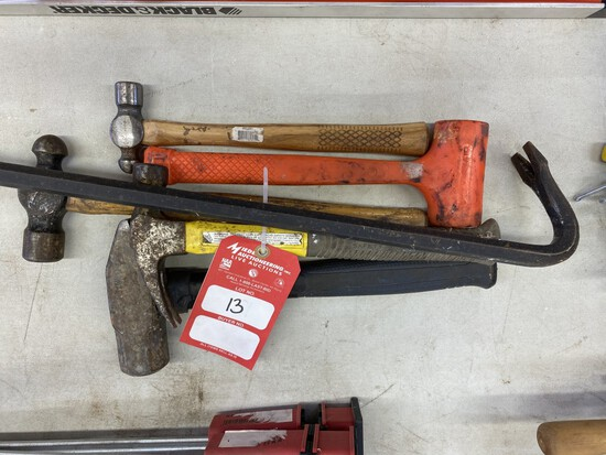 ASSORTED HAMMERS & PRY BAR