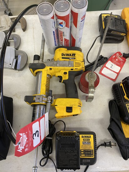 DEWALT CORDLESS GREASE GUN WITH CHARGER, BATTERY & GREASE