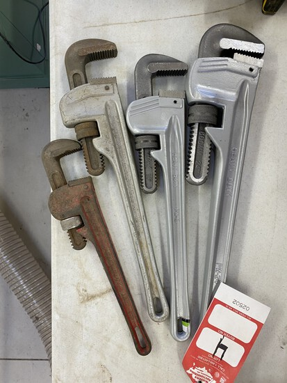 PIPE WRENCHES [4] TOTAL, 1-24'', 2-18'', 1-14''