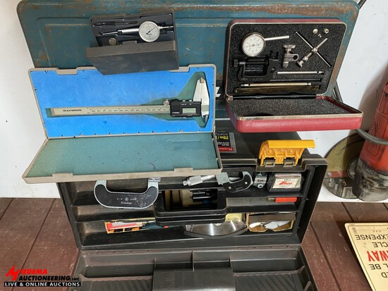 ASSORTED MICROMETERS, DIAL GAUGES, CALIPER, TOOL BOX AND MORE