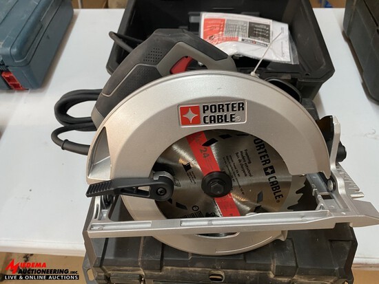 PORTER CABLE 7-1/4'' ELECTRIC CIRCULAR SAW WITH CASE