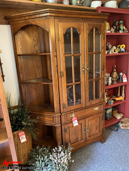 CHINA CABINET, 3-PIECES, 1 SIDE PIECES IS LOCATED UPSTAIRS