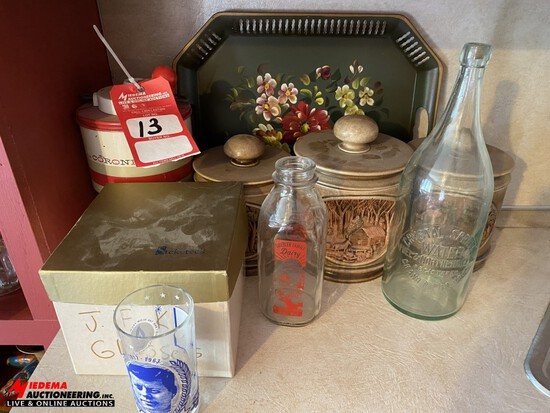 J.F.K. COLLECTIBLE GLASSES WITH ASSORTED JARS, DECORATIONS
