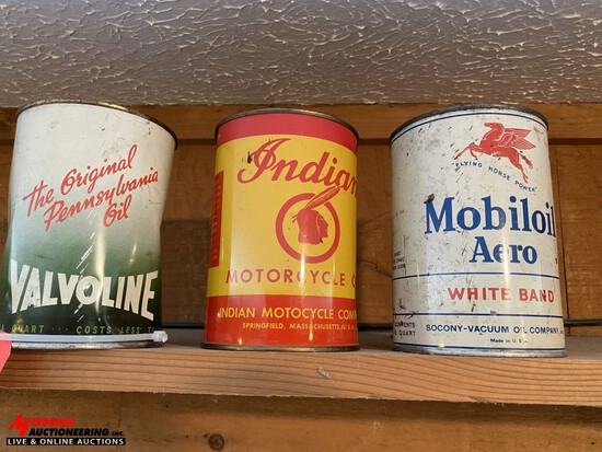 VINTAGE INDIAN MOTORCYCLE OIL CAN, VALVOLINE OIL CAN, AND MOBILOIL AERO , WHITE BRAND CAN. ALL UNOPE