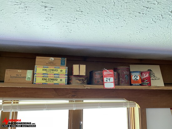 ASSORTED EMPTY TOBACCO COLLECTIBLE BOXES & TINS