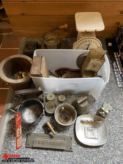 IRON ANTIQUES ASSORTED VINTAGE ITEMS & VINTAGE CHECK PUNCH MACHINE