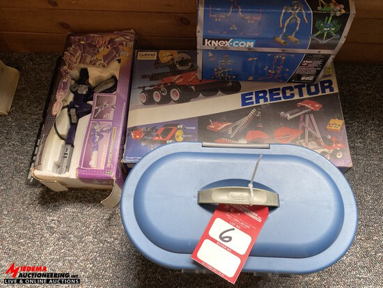 LINCOLN LOGS, ERECTOR SET, UNOPENED KINEX TOYS INSIDE THE BOX, TRANSFORMERS TOY