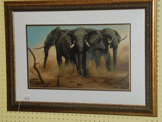 Framed Art (3) Elephants SLR Andrew Bond?