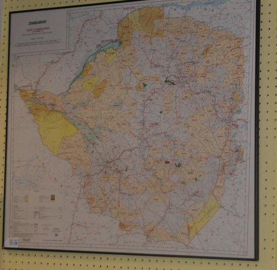 Framed Art Map of Zimbabwe