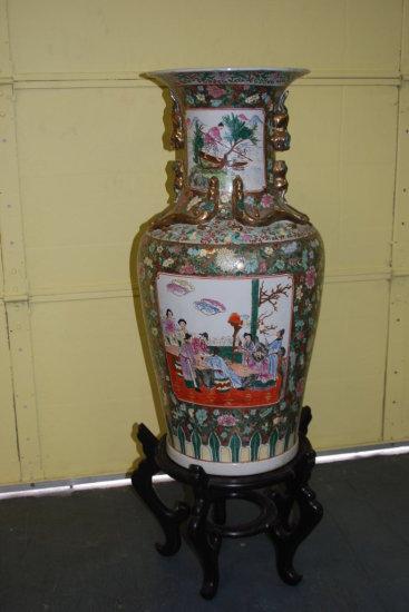 "Oriental Vase (36"") on Wooden Stand (13"")"