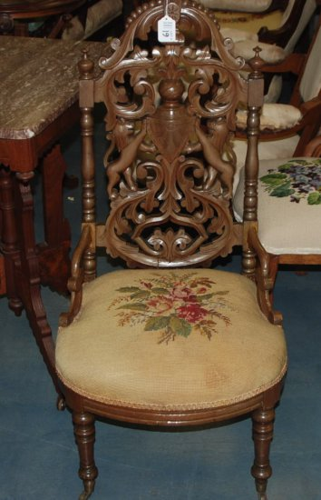 Elaborate Carved Gothic Side Chair