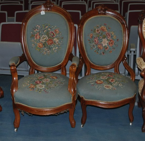 Needlepoint Gentleman & Ladies Chair