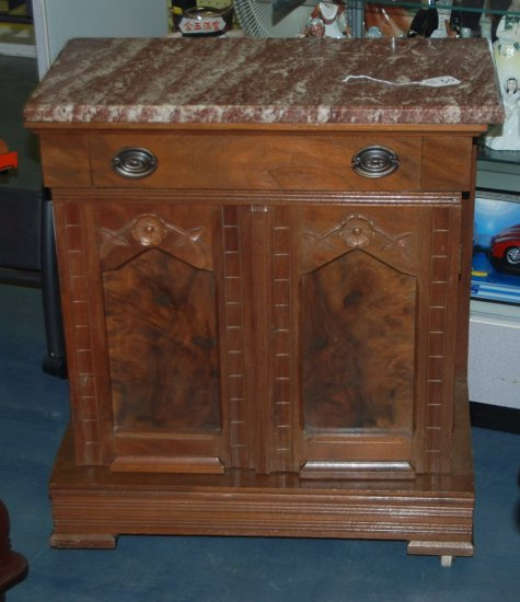 Small Brown Marble Top Washstand