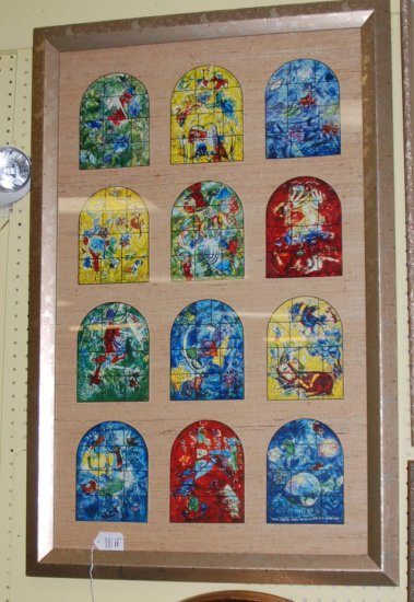 12 Framed Marc Chagall Windows from Israel Museum