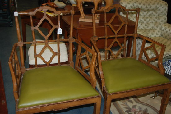 Pair Arm Chairs Green Seats Lewis Mittman