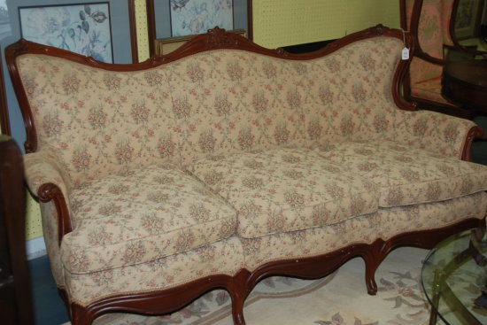 Antique Sofa Camel Bench Style Wood Frame