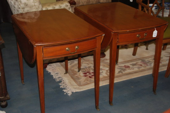 Pair Kittenger End Tables Drop Leaf w/casters