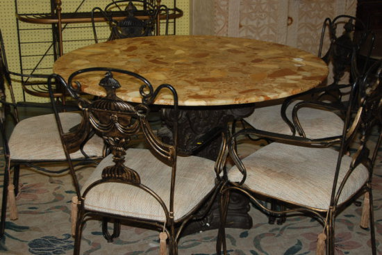 Stone top dining table with 5 chairs