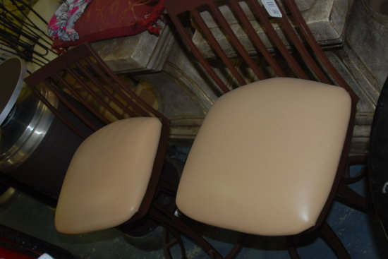 Pair Bar Stools Wrought Iron Tan Seat