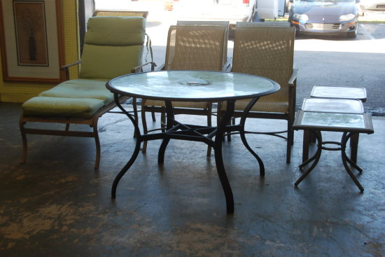Patio Set - Table, 4 Chairs, Lounger, 3 Side Tables