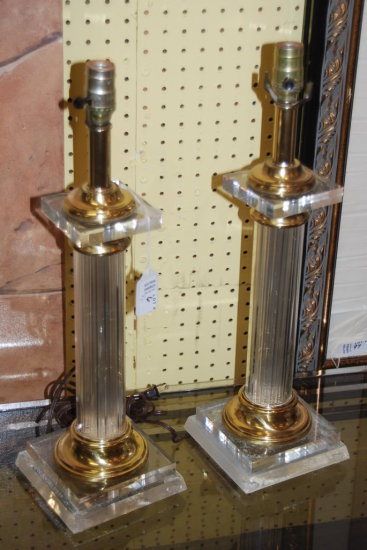 Pair Lucite Lamps No Shades