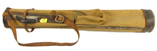 Golf Bag; Canvas & Leather; Winchester Sportsman's Headquarters. Orig. Brass Tag; Sewn On Leather S